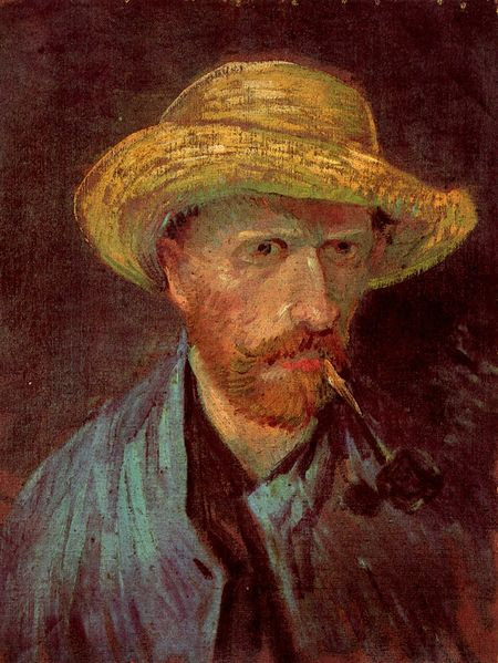File:Vincent Van Gogh - Self-portrait with straw hat and pipe.jpg